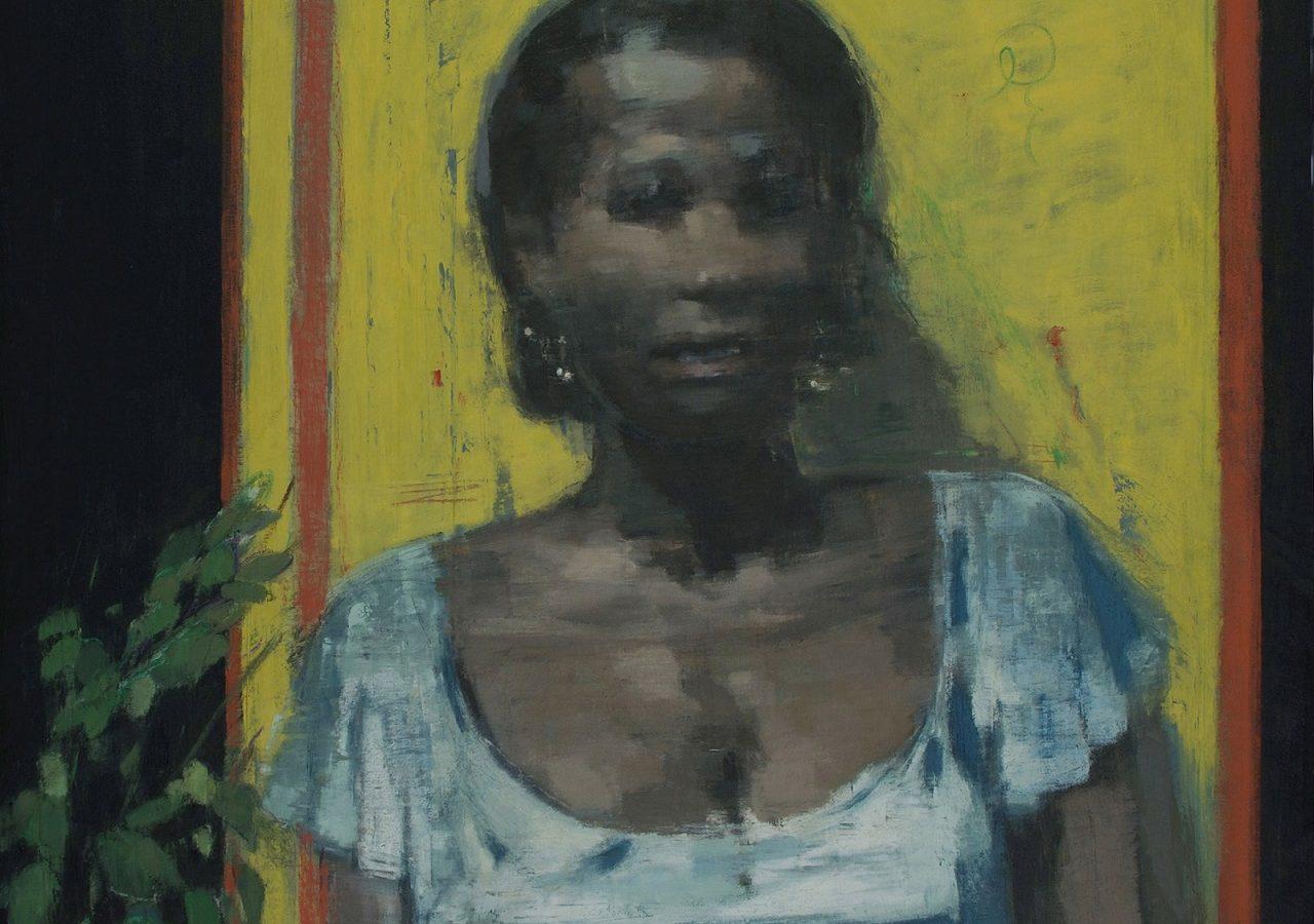 Samir-Fouad-Woman-in-Silver-100-x-80-cm-Oil-on-Canvas